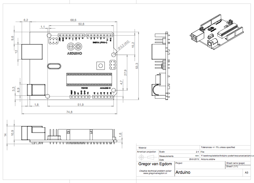 arduino uno technical drawing